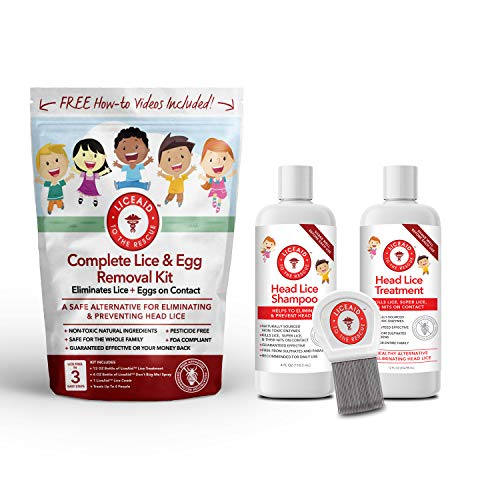 FDA Compliant Head Lice Treatment Kit - Everything You Need to Eliminate Lice & Their Eggs - Includes Enzymes, Shampoo, Comb & More 100% Safe for Kids and The Whole Family - Lice Free in 3 Easy Steps