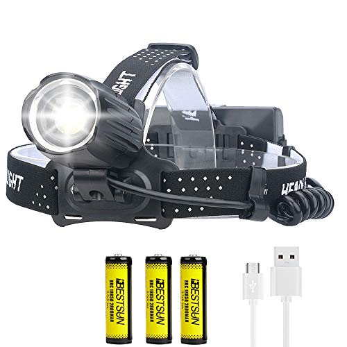 Linterna frontal LED XHP90 ultrabrillante, recargable por USB, 10000 lúmenes, linterna frontal LED XHP90, 3 modos con batería 18650, linterna frontal con impermeable, luz frontal con zoom para pesca