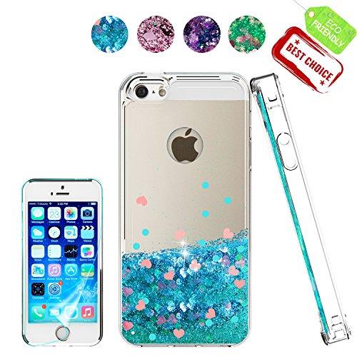 Atump Custodia iPhone 5 Glitter Cover con Protezione HD, Brillantini Trasparente Silicone Gel Liquido Quicksand Sabbie Mobili Bumper TPU Case Custodia per iPhone SE/iPhone 5s/ iPhone 5 Blu