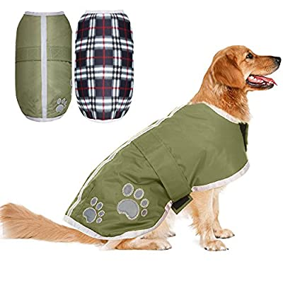 Reversible Dog Winter Clothes Waterproof Reflective Cold Weather Jacket for Large Dogs by PUPTECK