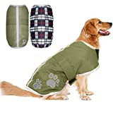 PUPTECK Reversible Dog Winter Clothes Waterproof Reflective Cold Weather Jacket Large Dogs