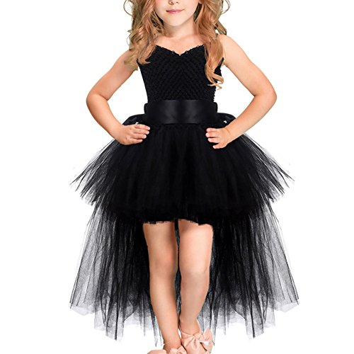 Little Girls Kids Handmade Pageant Tulle Tutu Costumes Fancy Birthday Party Dress Lace Trailing Flower High Low Bridesmaid Dress Wedding First Communion Princess Long Dance Evening Gown Black 2