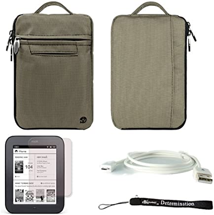 Gray Mighty Nylon Jacket Slim Compact Protective Sleeve Bag Case for Barnes & Noble NOOK Simple Touch eBook Reader BNRV300 + White Micro USB Cable + Anti-Glare Screen Protector + Hand Strap