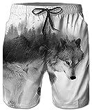 Idgreatim Uomo Lupo Costumi da Bagno Pantaloncini da Spiaggia Beach Pantaloncini 3D Divertente Lounge Wear Pantaloni Surf Pantaloncini Pajama Bottom Pantaloni Jogger M
