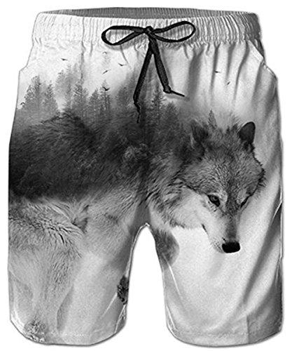 Idgreatim Männer Badehose Strand Shorts Wolf 3D Print Lustige Lounge Tragen Hosen Surfen Shorts Pyjama Bottoms Jogger Hosen M