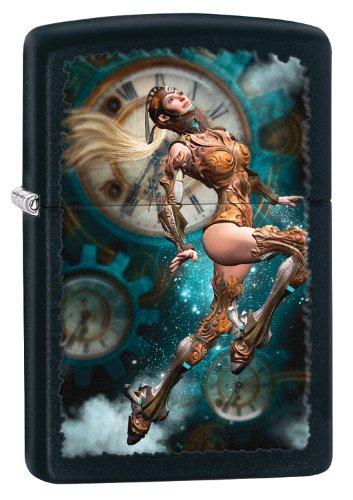 Zippo Steampunk Aviator Girl - Accendino antivento tascabile, colore: Nero opaco