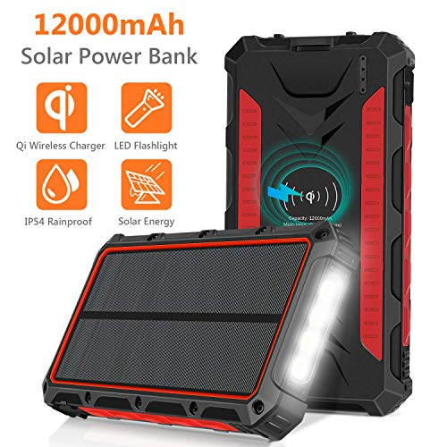 Solar Charger, 12000mAh QI Wireless Solar Power Bank Portable Chargers External Battery Pack Charger, 3 Output Ports 4 LED Flashlight, Solar Panel Charging for Travel, Camping, Emergency (Red)