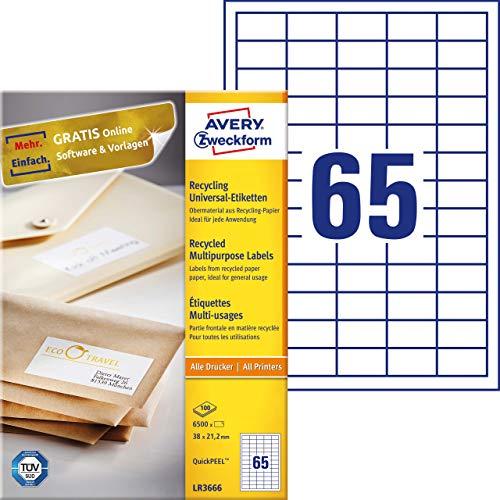 AVERY Zweckform LR3666 Recycling Etiketten (6.500 Klebeetiketten, 38x21,2mm auf A4, 100{d806d48f9a454a5e7c8cd2f21dbf871d131ddf0255e7b9fdbc3b7380347d7f53} recyceltes Altpapier, individuell bedruckbar, selbstklebende Aufkleber) 100 Blatt, naturweiß