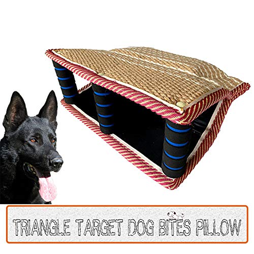 Dog Bite Pillow Jute Wedge Tug Toy Training Sleeves Safe Biting Pad with 3 Comfortable & Strong Handles for K9 Schutzhund Work Dog Young Dogs Puppy Playing Training