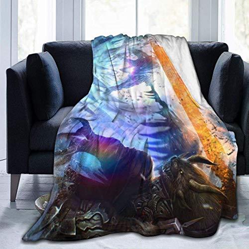 Batamanta Polar Suave y Acogedor Manta de Forro Polar a Cuadros de Cama y Sofa Guerra de gremios de Videojuegos 127X102 cm