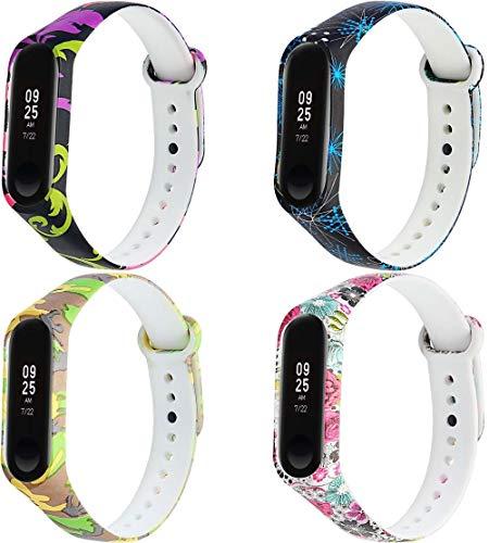 Correa de Reloj de Silicona Suave Compatible con Xiaomi Mi Band 3 / Mi Band 4 / Mi Smart Band 4 / Mi Fit Band 4, Repuesto Ideal (4-Pack J)