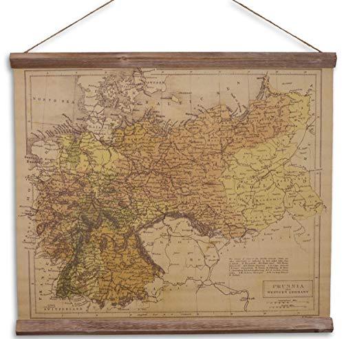 Casa Padrino Wandkarte Preussen und Westdeutschland Braun/Mehrfarbig 60 x H. 53 cm - Dekorative Schulkarte
