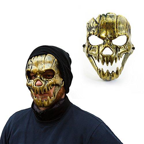 Oblique-Unique® Maske Totenkopf Schädel metallisch glänzend (Gold)