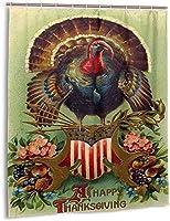 幸せな感謝祭のシャワーカーテン、バスルームのカーテンの装飾のためのバスルームポリエステル防水ファブリックバスタブセットフック付き60 X72インチ-プラスチック-72x72インチ