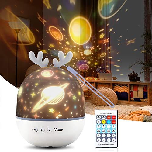 DISEN Sternenhimmel Projektor, Musik LED Lampe Nachtlicht mit 6 Projektionsfilmen und Timer, 360° drehbar Sternenlicht mit Fernbedienung, für Baby und Kinder