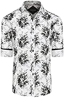 Tarocash Men's Orlando Stretch Print Shirt Stretch Cotton Regular Fit Long Sleeve Sizes XS-5XL for Going Out Smart Occasionwear