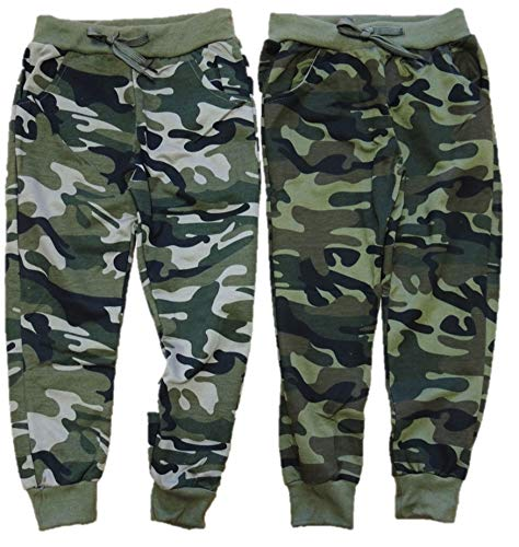 Unbekannt 2er Pack Jungen Camouflage Jogginghosen in den Größen 98-188 (122-128)