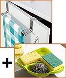 Angel Bear Combo of Brushed Steel Kitchen Towel Holder and Corner Sink Wash