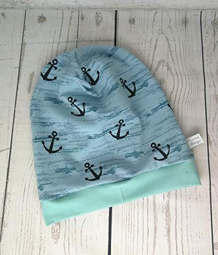 Baby Kinder Beanie Mütze Anker Mint handmade Puschel-Design