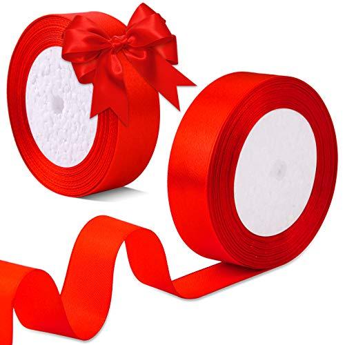 WXJ13 Lot de 2 rouleaux de ruban de satin rouge de 2,5 cm au total de 48 m pour loisirs créatifs, parfait pour décoration de mariage, couronne, spectacle de bébé, fête nuptiale(2 rouleaux)