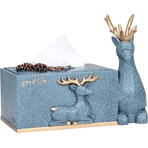 UCYG Nordic Tissue Box eenvoudige herten salontafel papieren doos doos servet doos huis opbergdoos 26x13x10cm. (Kleur: blauw)
