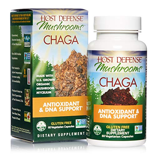 Host Defense, Chaga Capsules, Antioxidant and DNA Support, Daily Mushroom Supplement, Vegan, Organic, 60 Capsules (30 Servings)