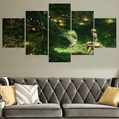 Print poster wall art foto 5 stuks kinderen draak fantasie meisje schilderij woondecoratie woonkamer