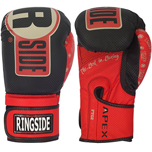 Ringside Apex Flash Boxing Training Sparring Gloves , BK/RD, 16 oz