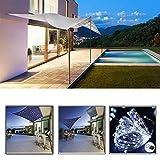 Ombrage Voile Rectangulaire avec des lumières LED 3x2M, Tissu Oxford Hydrofuge pour auvent de pavillon UV à 98% pour terrasse, Balcon et Jardin - Noir (Taille Personnalisable)