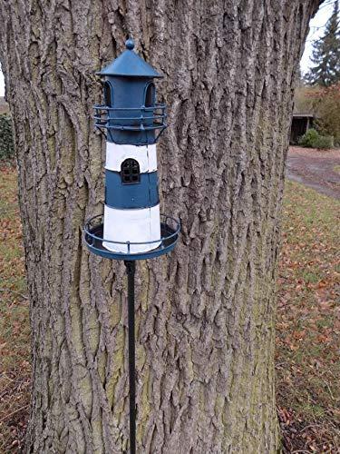 Deko-Impression Leuchtturm am Gartenstab Gartenstecker Windlicht Eisen blau-weiß lackiert 135 cm