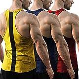 JINIDU Pack de 3 camisetas de entrenamiento para hombre Dry Fit Gym y musculatura de la espalda rojo, azul marino y amarillo XXL