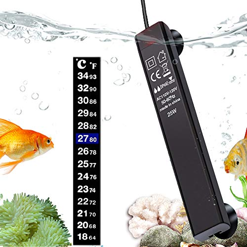 n a Aquarium Heater,25W 50W Aquarium Fish Tank Submersible Heater,Anti-Scald Fish, with Water Shortage Protection and Aquarium Thermometer, for 3 to 25 Gallon Fish Tank Water Tank (HL-288 25W)