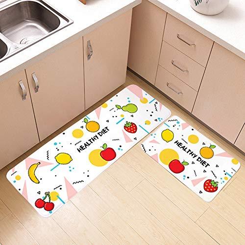 DishyKooker Cartoon-Muster rutschfeste Plüsch Bodenmatte für Schlafzimmer Bad Küche Bananenapfel 40x60cm -für Kindergeschenk