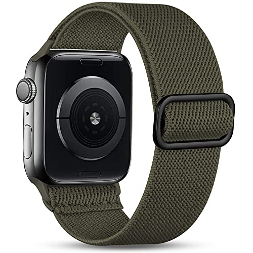 Witzon Compatible with Apple Watch Band 44mm 42mm 40mm 38mm for Men Women, Elastic Solo Loop Soft Breathable Braided Nylon Stretchy Bands for iWatch / Apple Watch SE Series 6 5 4 3 2 1, Army Green