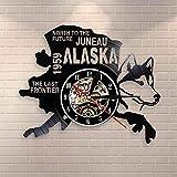 Reloj de Pared de Vinilo The Last Frontier Alaska Decor USA Cityscape Vinyl Record Clock North To The Future Juneau Modern Vintage Gift Alaska Dog Decor30cm.12 Inches.