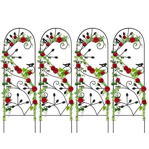 Amagabeli 4 Pack Garden Trellis for Climbing Plants 46' x 15' Rustproof Sturdy Black Iron Trellis Plants Support Metal Trellis for Climbing Rose Vine Vegetable Flower Ivy Grape Cucumber Clematis GT02