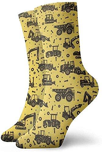 hdyefe Casual Crew Socken, Damen/Herren Sportsocken, Custom Novelty Socken, Halloween Cosplay Socken, Lustige Socken, Cartoon Bagger und Traktor Schlauch Socken Klassische Socken Fußball Socken 30CM