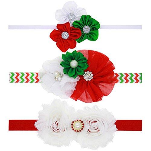 Txian Lot de 3 bandeaux avec adorables fleurs en satin et strass - Accessoire pour cheveux - Pour bébé fille