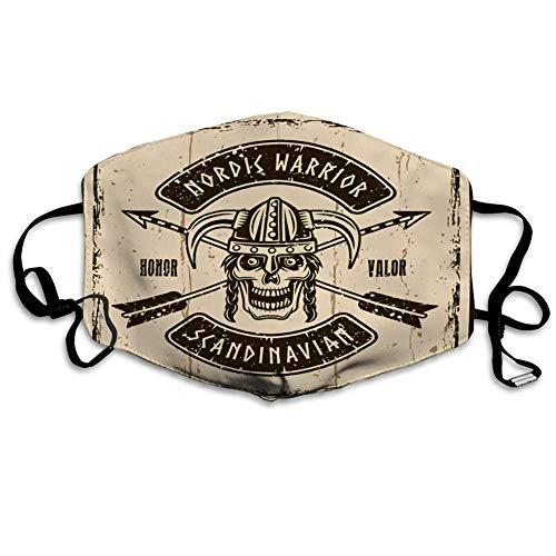 Anti-Staub-Mundmaske Wikinger-Schädel im braunen Emblem-Druck des gehörnten Helms