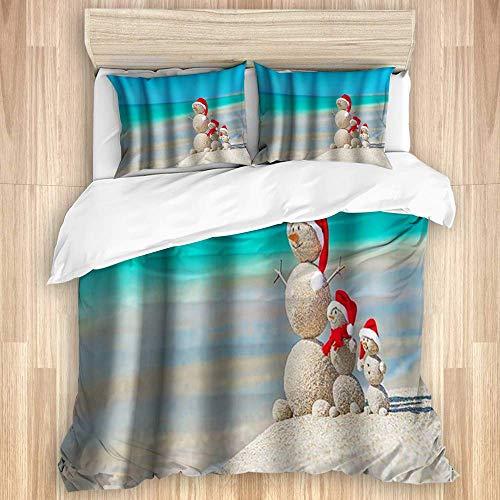 3-teiliger Bettbezug, Cartoon Santa Beach Schneemann Frohe Weihnachten Neujahrsfest-Thema, Qualitätsbettwäscheset mit 1 Quit-Bezug und 2 Kissenbezügen in verschiedenen Stilfarben
