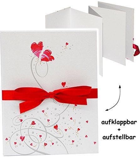 Leporello Mappe - auffaltbares Buch -  Fliegende Herzen  - Faltalbum / Fotobuch zum Aufstellen / wie Bilderrahmen - zur Hochzeit / Hochzeitsalbum - Einklebe..