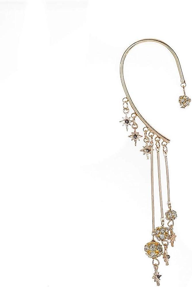 YAZILIND Star Pendant Beaded Long Tassel Earrings Ear Wrap Charm Cuff Earring Fashion Accessory for Women + Not Pierced - 1PC