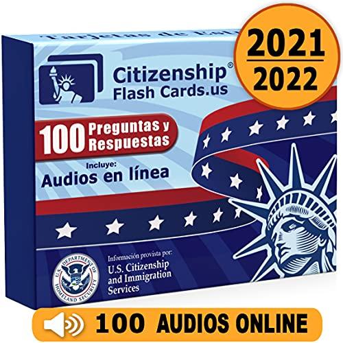 Us Citizenship Test Study Guide 2021, Ciudadania Americana 2021 en Español. Spanish and English. 100 Flash Cards and Audios Online