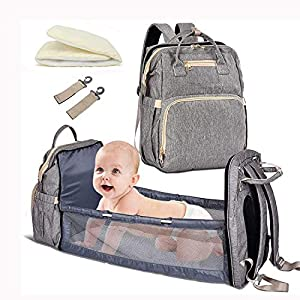 4-in-1 Travel Baby bassinets Foldable Baby Bed – Portable Diaper Changing Station Mummy Bag Backpack, Upgrade Baby Diaper Bag, Portable Baby Bed, Travel Crib Infant Sleeper, Baby Nest with Mattress