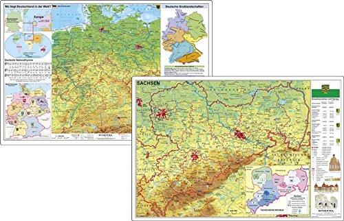Deutschland physisch / Sachsen physisch. DUO-Schreibunterlage