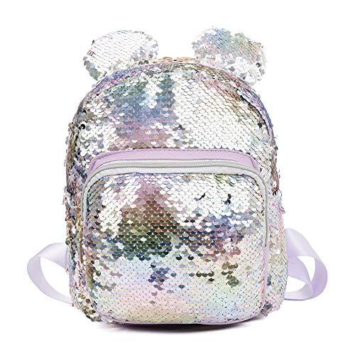Demiawaking Zaino con Paillettes Glitterati Zainetto Orecchie d'orso Borsa da Viaggio Borsa da Scuola Casual per Bambini (Viola colorato)