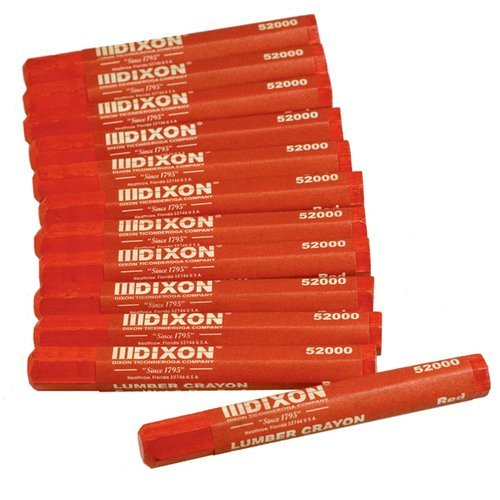 Dixon 52000 Lumber Marking Crayons, Red, 12-Pack (2)