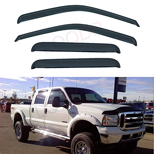 LQQDP Set of 4 Front+Rear Smoke Sun/Rain Guard Wind Deflector Outside Mount Tape-On Acrylic Window Visors Compatible With 99-16 F250/F350/F450/F550 Super Duty Supercrew/Crew Cab With 4 Full Size Doors