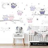 StarStick - Búhos Suaves Niña lavanda 150x70 cm- Vinilos infantiles - T2 - Mediano
