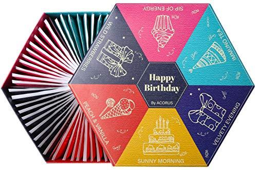 Cumpleaños feliz por ACORUS - Juego de té para un cumpleaños para todos los que nos importan. Selección de tés de frutas, hierbas y negros con cálidos deseos escritos en la caja